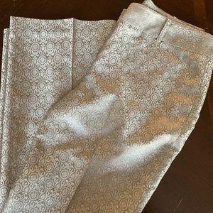 Ann Taylor Gray Silver Floral Silk Pants